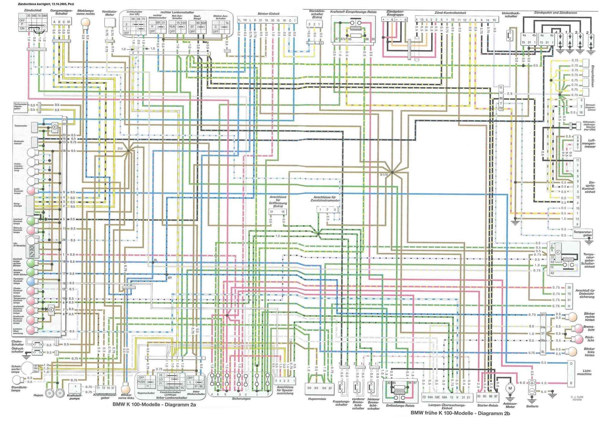 Elektrisch schema van de 16V modellen (K100RS 16V, K1 en K1100) door Arie  de Wit (484 kB JPG)
